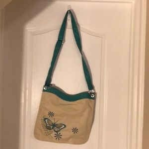 Cream and Blue Butterfly Purse